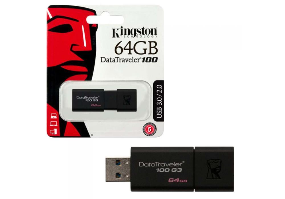 kingston flash 64GB USB 3.0 DataTraveler 100 G3 (100MB/s read)
