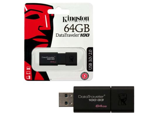 kingston flash 64GB USB 3.0 DataTraveler 100 G3 (100MB/s read)