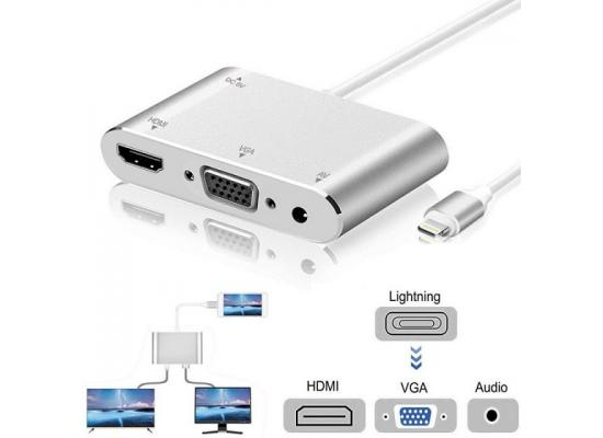 Converter Lightning For iPad iPhone x To HDMI VGA Jack Audio TV Type-c