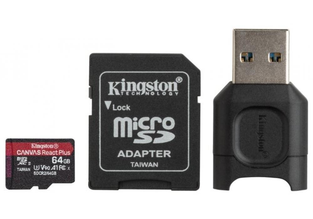 Kingston Memory Card 64GB micSDXC React+ SDCR2 285R UHS-II w/ADP+MLPM Reader