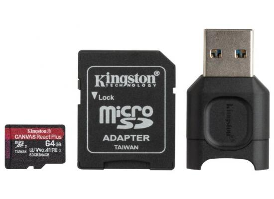Kingston Memory Card 64GB micSDXC React+ SDCR2 285R UHS-II w/ADP+MLPM Reader