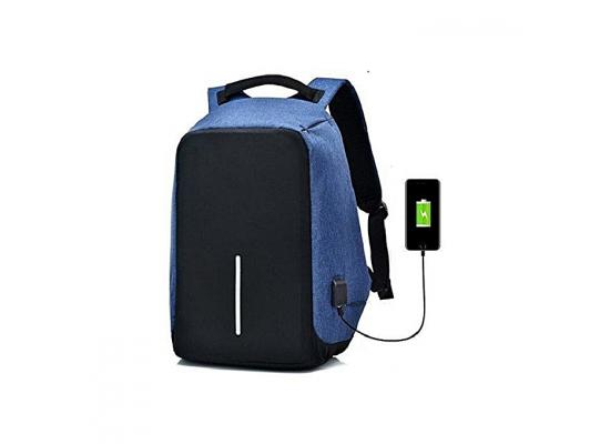 "Smart Laptop Backpack 15.6"" With USB Blue"