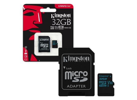 Kingston 32GB Canvas Go UHS-I microSDXC Memory Card with SD Adapter 4k