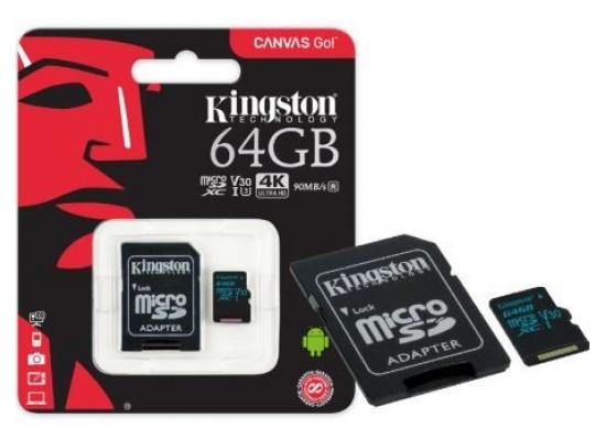 Kingston 64GB Canvas Go UHS-I microSDXC Memory Card with SD Adapter 4k