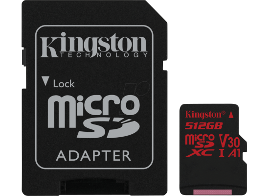 Kingston 512GB memory card Canvas React Card + SD Adptr