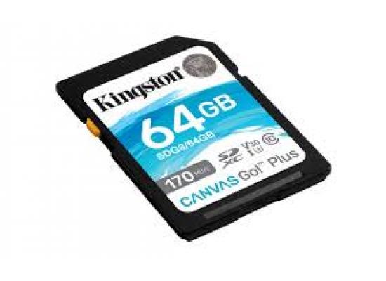 Kingston Memory Card 64GB SDXC Canvas Go Plus 170R C10 UHS-I U3 V30