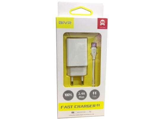 AIVR A109K-M Plug   USB + CABLE MICRO USB  Home Wall FAST  Charger Power 2.4A