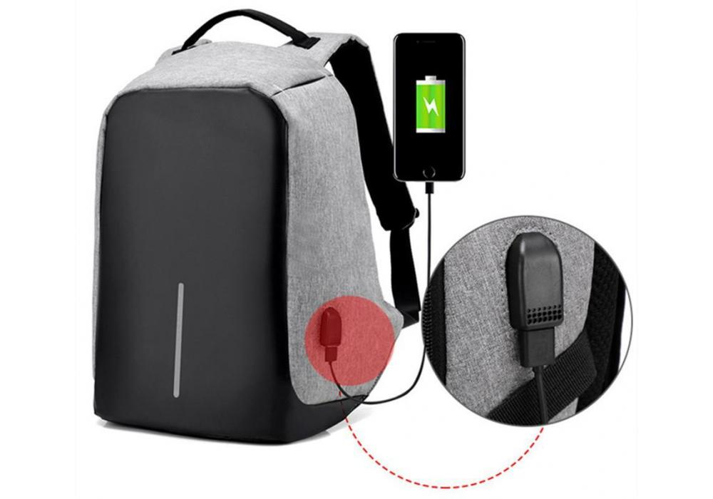"Smart Laptop Backpack 15.6"" With USB Gray"