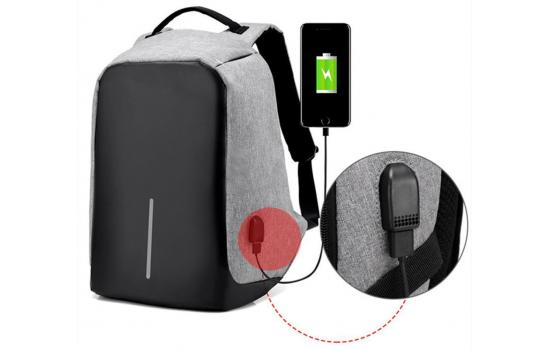 """Smart Laptop Backpack 15.6"""" With USB Gray"""