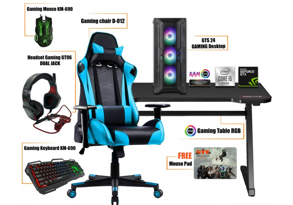 Gaming Setup 1 Core i5 -Table RGB -Headset-Mouse-Keyboard-Mouse pad Gaming