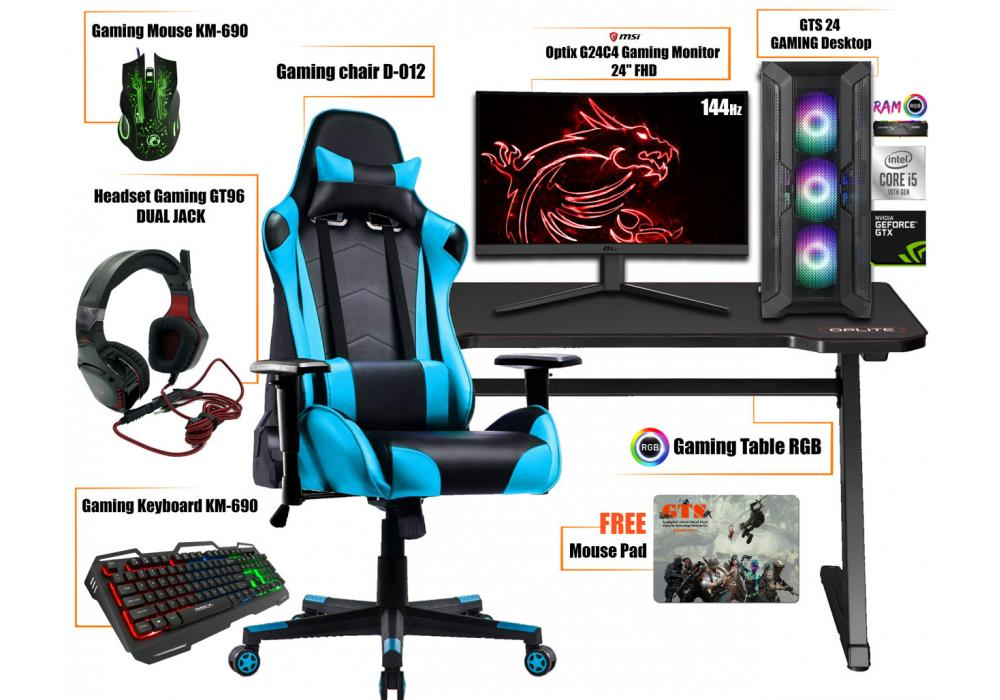 "Gaming Setup 2 Core i5 -Table RGB -Headset-Mouse-Keyboard-Mouse pad Gaming-monitor 24"" 144 Hz"