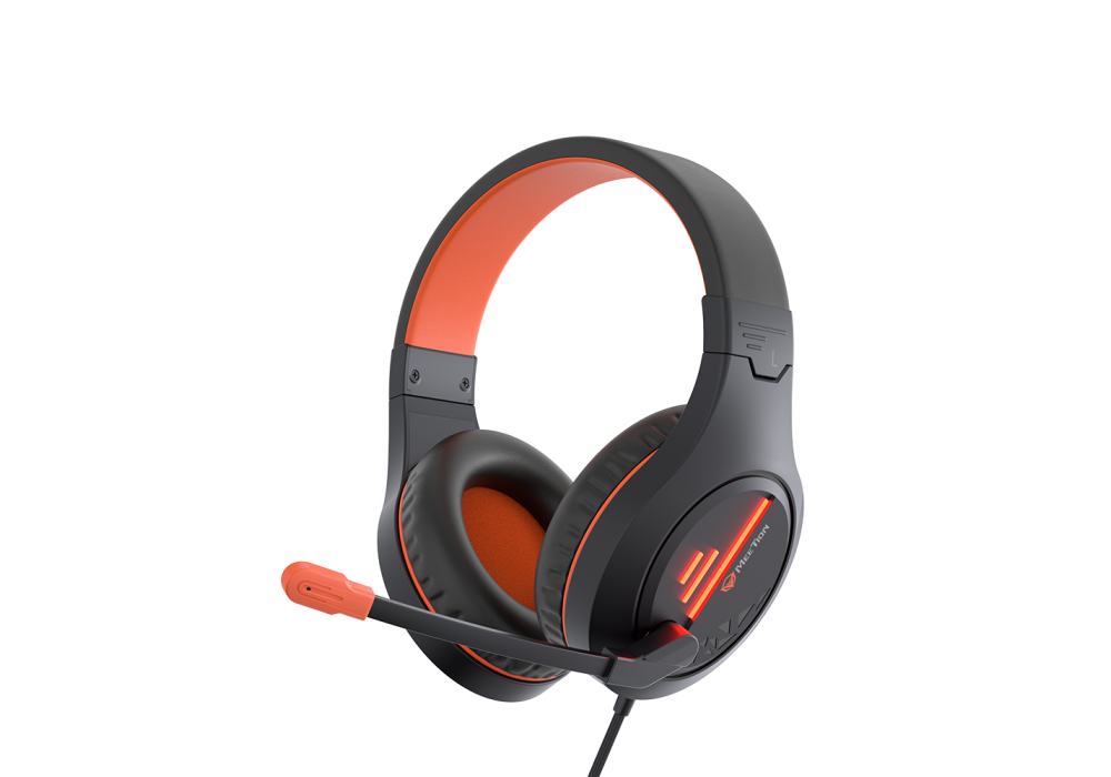 Meetion Wired Lightweight Stereo Backlit Gaming Headset HP021 Black and Orange