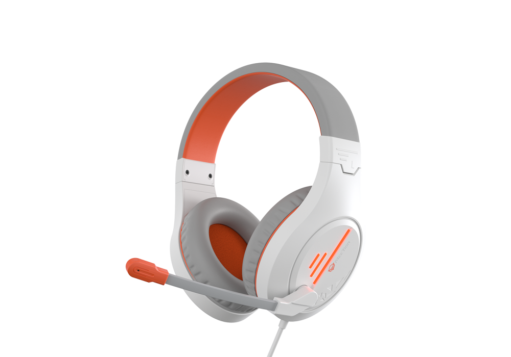 Meetion Wired Lightweight Stereo Backlit Gaming Headset HP021 White and Orange