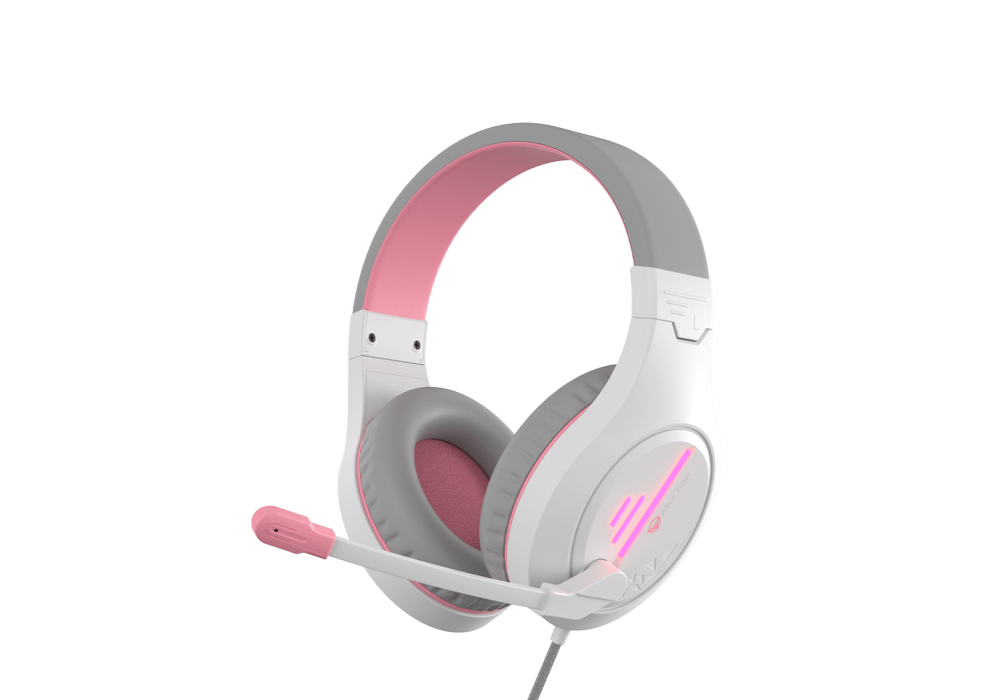 Meetion Wired Lightweight Stereo Backlit Gaming Headset HP021 White and Pink