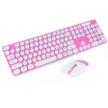2.4GHz Wireless Keyboard and Optical Mouse-PINK