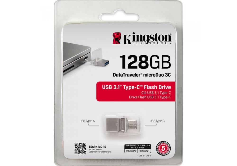 kingston flash OTG 128GB DT microDuo 3C, USB 3.0/3.1 + Type-C flash drive