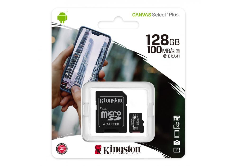 Kingston Memory Card 128GB micSDXC Canvas Select Plus 100R A1 C10 Card + ADP