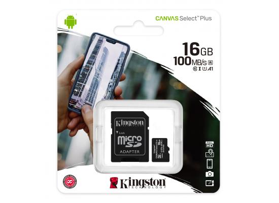 Kingston Memory Card 16GB micSDHC Canvas Select Plus 100R A1 C10 Card + ADP