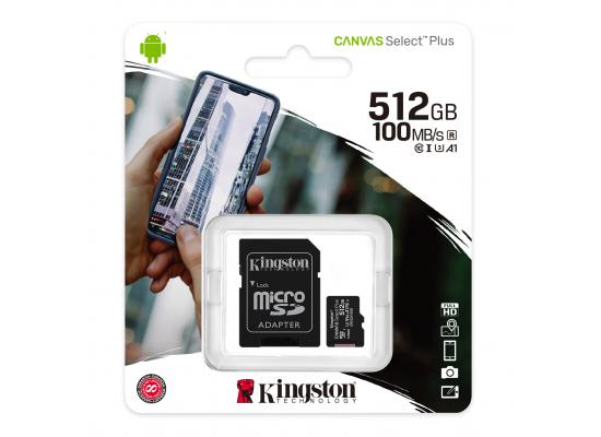 Kingston Memory Card 512GB micSDXC Canvas Select Plus 100R A1 C10 Card + ADP
