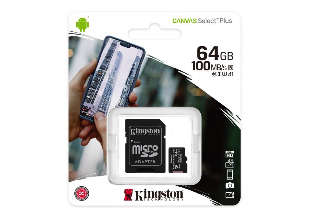 Kingston Memory Card 64GB micSDXC Canvas Select Plus 100R A1 C10 Card + ADP