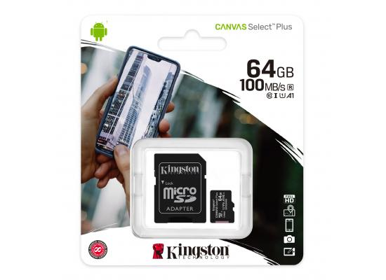 Kingston Memory Card 64GB micSDXC Canvas Select Plus 100R A1 C10 Card + ADP