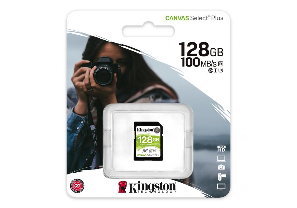 Kingston Memory Card 128GB SDXC Canvas Select Plus 100R C10 UHS-I U3 V30