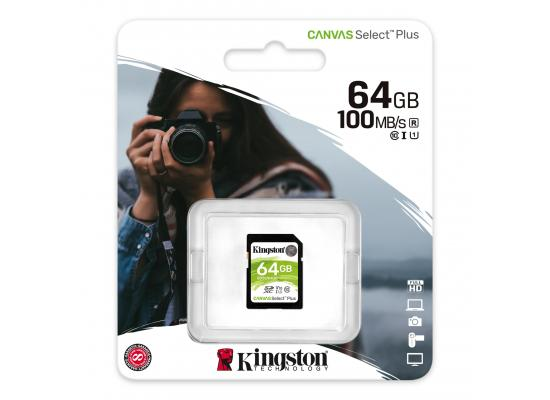 Kingston Memory Card 64GB SDXC Canvas Select Plus 100R C10 UHS-I U1 V10
