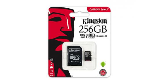 Kingston microSD 256GB + SD Adapter / Canvas Select