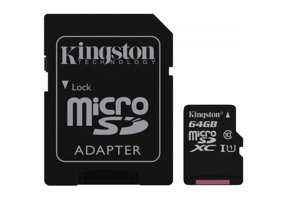 Kingston microSD 64GB + SD Adapter / Canvas Select