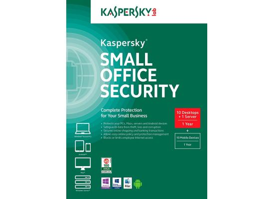 Kaspersky Small Office Security (10 Desktops - 1 Server - 5 Mobile Devices)